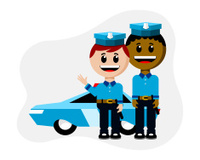 Two Male Cops With Patrol Car