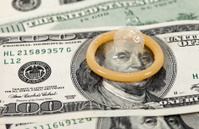 Condom on the US dollars bills