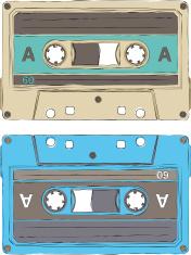 handdrawn retro audio tape