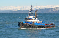 Blue tugboat in the bay