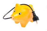 Power saving piggy bank
