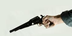 Hand Pointing Antique  Revolver