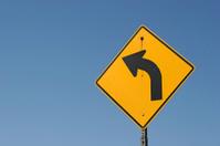 Curve ahead road sign