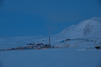 Longyearbyen Spitzbergen  during polar night