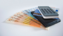 Euro Notes, credit card and calculator