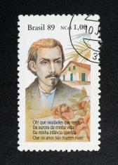 brazilian postage stamp, on black background
