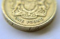 Macro shot of pound coin