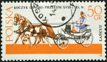 woman driving two horse carriage
