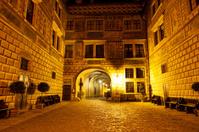 Cesky Krumlov castle internal courtyard