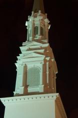 Church steeple at night in Atlanta