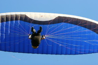 Blue and black paraglider