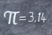 Pi number,  on a blackboard