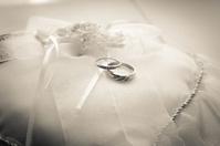 Wedding Rings on Ring Bearer Pillow - Black & White