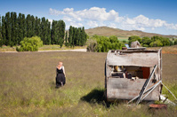 Girl and abandoned Caravan