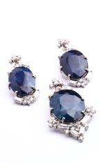 Indian style Semi-Precious Blue Gemstone Pendant and Earring set