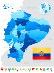 Map of Ecuador - states, cities, flag and navigation icons