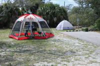 Tents in beach campsite