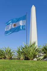 Argentina Obelisk of Buenos Aires and Argentine Flag
