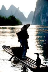 Cormorant Fisherman on Li River, Xinyping, Yangshou, China