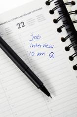 Job interview note in a calendar