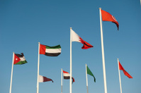 middle east national flags with a blue sky