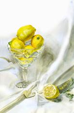 Lemons in a crystal vase