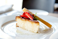 Coconut Pie with a Strawberry and Sauce from Passion Fruit