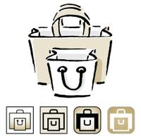 Shopping bag icon set.