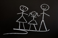 Family drawn in chalk