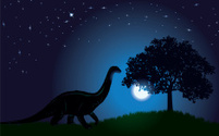 Dinosaur Finding Food at Night Background