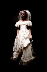 Disheveled Bride Smoking Cigarete and Carrying Beer Can