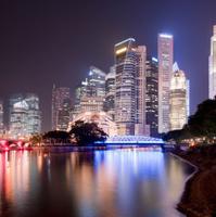 Singapore City Skyline and Marina Bay at Night