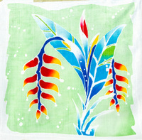 Strelitzia, Papageienblume batik handpainted
