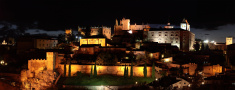 Night panorama the city of Caceres