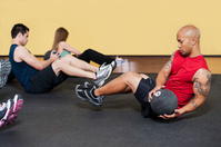 Fitness Class working with a Medicine Ball