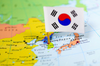 Map and Flag of South Korea