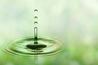 Three green falling water drops