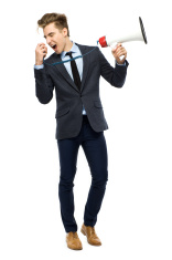 Stylish man with megaphone