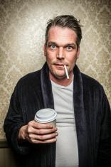 Unshaven Man  Open Bathrobe with Cigarette, Coffee Caffeine jitt