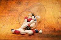 Pills on grunge background