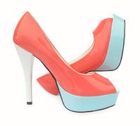 Pink blue white high heels open toe pump shoes