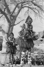 Dogon Dancers on Stilts (b/w