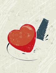 Heart on Hole Cut by a Saw