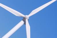 Wind turbine on crystal blu sky