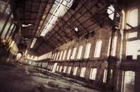 Creepy old factory inside hangar
