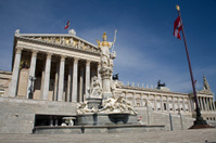 Vienna - Pallas Athena fountain and parliament
