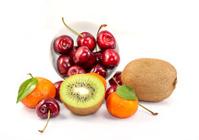 Citrus, cherrys and kiwi fruits