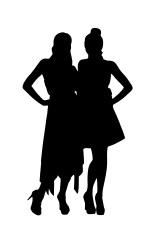 two women silhouettes