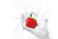 strawberry splash in a bowl of milk