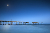 Cape Hatteras National Seashore NC Moonlight Ocean Pier Outer Ba